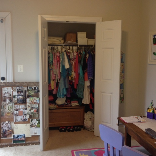 An overcrowded closet